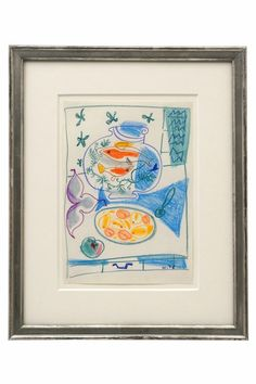 Still life crayon drawing by Michel Debieve, dated 1976. France, 1976