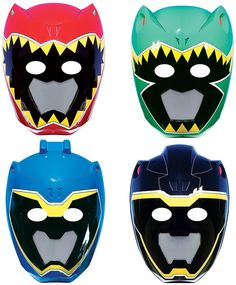 PartyBell.com - Power Rangers Dino Charge Paper #Masks (8)