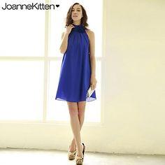 f53a7f178581 joannekitten® kvinder sexet høj krave hals blomst draperet  overdimensionerede kjole – DKK kr. 189