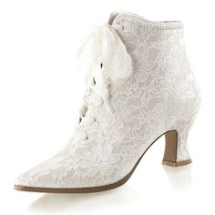 Victorian vintage style lace ankle boots Wedding Party Fancy Dress UK 3-9 NEW | eBay