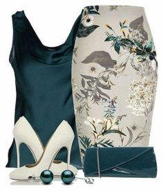 Floerns Womens Casual Embroidered Floral - Now Outfits Classy Outfits, Chic Outfits, Teal Outfits, Woman Outfits, Work Fashion, Fashion Looks, Fashion Fashion, Retro Fashion, Winter Fashion