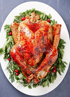 Thanksgiving turkey on a white platter with festive details