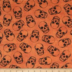 Timeless Treasures Wicked Skulls Orange from @fabricdotcom  Designed by Timeless Treasures, this cotton print fabric is perfect for quilting, apparel and home decor accents. Colors include shades of black on an orange background.