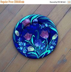 Maling Cobalt blue Tulips Plate Charger 6064 by MargsMostlyVintage