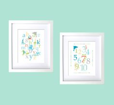 Personalized baby shower birthday gift kids wall decor prints  girl boy Ocean creatures alphabet numbers in beach color baby nursery 11x14. $45.00, via Etsy.