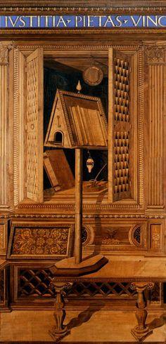Studiolo do Palácio Ducal de Gubbio (1439–1501 ) Francesco di Giorgio Martini - Metropolitan Museum N. York  Destinados à meditação e estudo. Suas paredes são realizadas em uma técnica conhecida como intarsia.   As portas dos armários, mostradas abertas ou parcialmente fechadas, indicam o interesse contemporâneo pela perspectiva linear.   Os armários exibir objetos que refletem interesses artísticos e científicos do Duque Federico, e as representações de livros recordam sua extensa…