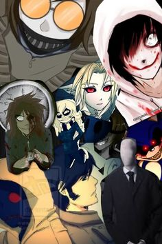 Creeypasta characters~Ticci Toby, Jeff the Killer, Clockwork, Zero, Ben Drowned, Eyeless Jack, Hoodie, Masky, Slenderman, and Sonic EXE.