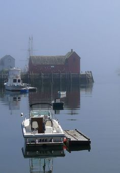Fog in the harbor, Rockport, Massachusetts. Rockport is approximately 40 miles northeast of Boston at the tip of the Cape Ann peninsula. (V)