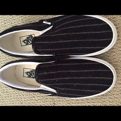 Wool pinstripe Vans for Madewell nwob These are so cute and comfy, they just don't fit me! The background is either a dark navy or black, I can't tell. Leaning towards navy I think. The stripe is white and burgundy. Madewell Shoes Sneakers
