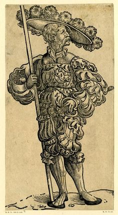 A Landsknecht with a large plumed hat; WL figure facing front with his head in profile to right, holding a pole in his right hand; from a se...