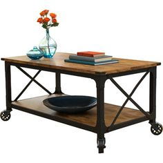 Better Homes and Gardens Rustic Country Coffee Table, Antiqued Black/Pine Finish ($105) | Walmart