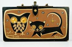 Vintage 1966 Enid Collins OWL and PUSSY CAT jeweled wood purse box bag handbag