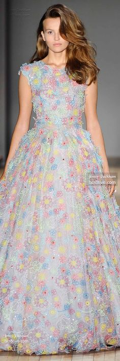 Jenny Packham Spring 2015 RTW. Reminds  me of a birthday party barbie doll I had when I was younger. :)