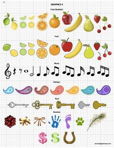 Vector Fabric Swatches & Fashion Embellishments -Vector Apparel Graphics - Fruit, Music, Pailsey, Keys, Bows, misc. 160+ seamless fabric swatches and 400+ fashion embellishments for $49.95 #fashiondesign #vectorgraphics #apparelgraphics