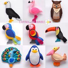 WWW.LADYBUGONCHAMOMILE.COM - plus de photos ici!!! Collection belle senti aimant oiseaux ! 10 oiseaux belle miniature pour les enfants.