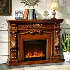 English Style Fireplace Set W160cm Carved Wood Mantel Electric Fireplace  Insert Living Room Warm Air Blower