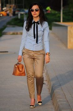 really like collared shirts with the little tie #womenoutfits