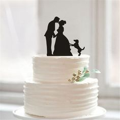 Wedding Cake Topper/ Cake Stand (Bride & Groom and Dog) #funnywedding