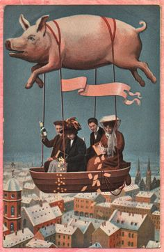 When Pigs Fly New Year Hot Air Balloon Sort of Unusual Piggy Image 1909 PC | eBay