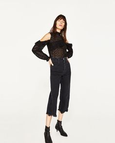 ZARA - WOMAN - BLOND LACE CUT-OUT TOP
