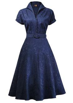40s Weekender Dress - navy brocade #pinup