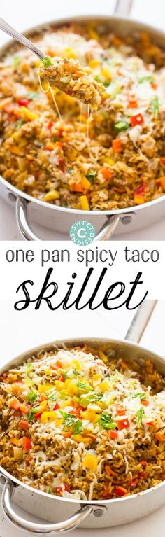 One Pot Spicy Taco Rice Skillet- this dish is so easy to make and wonderful in leftovers! Our whole family loves it.