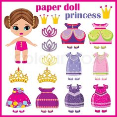Stock vector of 'Paper doll princess with a set of clothes. vector '