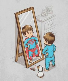 - superman - @Adriana Agnese Fauth   So cute!! I love what he did with the lipstick
