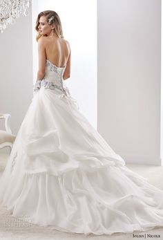 nicole jolies 2016 wedding dresses strapless sweetheart neckline blue accent modified a line weding dress joab16498 back