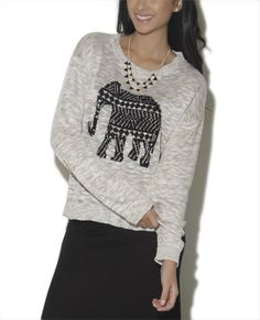 Slub Elephant Pullover Sweater from Wet Seal