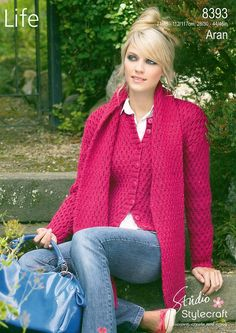 ba4084c7ab120 Jacket and Scarf in Stylecraft Life Aran - 8393 Knitting Supplies