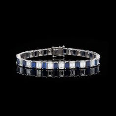 b25aff083b3 Alternating rectangle sapphire and emerald cut diamond bracelet set in 18k  white gold. The bracelet