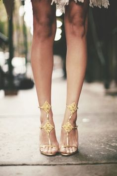 Stunning gold strappy heels - so chic