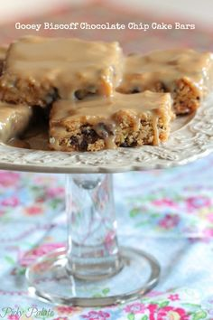 Gooey Biscoff Chocolate Chip Cake Bars by Picky Palate