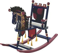 Wildkin Prince Rocking Horse: Removable padded backrest with cut-out detail Silky satin mane & ears Regal banner with gold tassels. Your royal highness will enjoy every second spent on their very own rocking horse! Royal Nursery, Carrousel, Traditional Toys, Regal Design, Chair Backs, Toys R Us, Kids Furniture, Antique Furniture, Furniture Decor