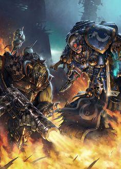 spassundspiele:  Ultramarine vs Ork Fan Art Warhammer 40k byAdam Isailovic