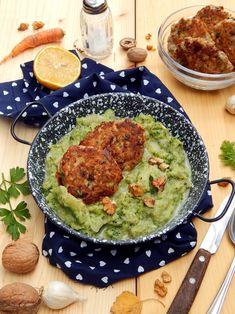 Mézes finomságok...: Brokkolifőzelék diós, sárgarépás fasírttal... Palak Paneer, Risotto, Vegan Recipes, Paleo, Healthy, Ethnic Recipes, Dios, Health, Vegan Dinner Recipes