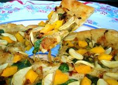 Savory flatbread with roasted apple, butternut squash, and caramelized onion. Wonderful pizza crust and bean dip recipes!