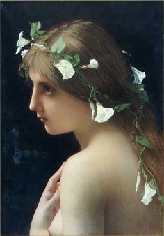 """Jules Joseph Lefebvre: """"Nymph with morning glory flowers"""", oil on canvas, Private collection, Wikipedia, the free encyclopedia"""