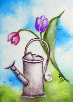 ACEO Original Watercolor Watering Can Tulips by Artfulcreations, $9.00