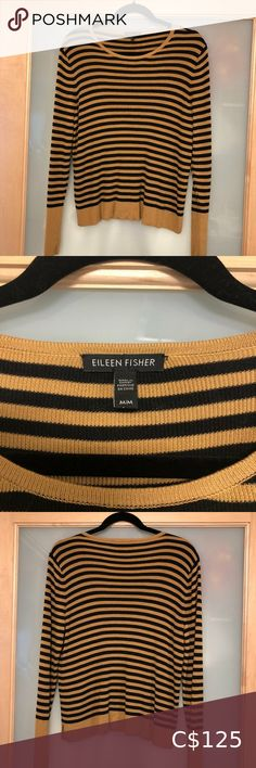 Eileen Fisher Tencel Silk Striped Sweater Beautiful caramel and black striped silk sweater, very soft and luxurious. Size is Medium. EUC. Small side splits at waist. great piece for fall Eileen Fisher Sweaters Crew & Scoop Necks Plus Fashion, Fashion Tips, Fashion Trends, Eileen Fisher, Black Stripes, Caramel, Sweaters For Women, Silk, Medium