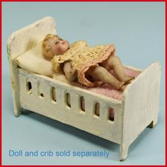 "1 3/4"" Antique All Bisque Baby Doll with 5 Piece Pin Jointed Body Late from curleycreekantiques on Ruby Lane"