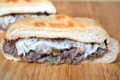 Slow-cooked Beef Sandwich with Provolone and Giardiniera