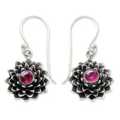 Ruby earrings, 'July Water Lily' - Sterling Silver and Ruby Dangle Earrings (image 2a)