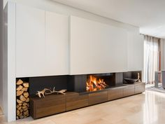 Best Amazing Fireplace Tile Ideas for Your Living Room - homelovers White Fireplace, Stove Fireplace, Modern Fireplace, Fireplace Wall, Fireplace Design, Living Room Modern, Living Room Designs, Living Room Decor, Contemporary Home Furniture