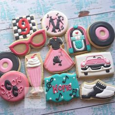 Saturday, July 2018 (Day Happy Birthday Cookies July: 9 & 10 years old by 🎀 🇺🇸 1950s Theme Party, 50s Theme Parties, 13th Birthday Parties, 50th Birthday Party, Happy Birthday Cookie, Sweet 16 Birthday, Birthday Cookies, Grease Themed Parties, Grease Party
