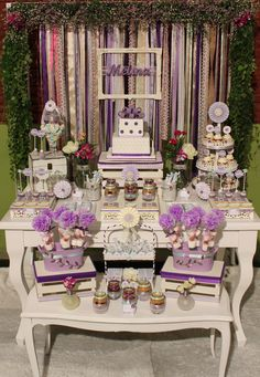 Violeta Glace 's Birthday / Shabby chic - Violet & Lilac Sweet Party at Catch My Party Candy Bar Party, Candy Table, 25th Birthday Parties, 25 Birthday, Shabby Chic Birthday Party Ideas, Enchanted Forest Party, Butterfly Baby Shower, Graduation Diy, Bday Girl