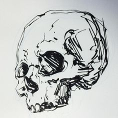 Illustration by Michele Svengsouk - Ink! Skull! I love these Pilot Parallel Pens because you lose a little control and sometimes you get an unexpected line. It's like a chisel with ink! Oh, and this is for #inktober 4