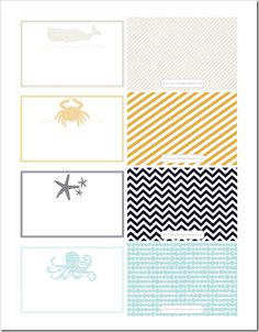 Free printable beach bag tags - stripes, chevron, dots, and more