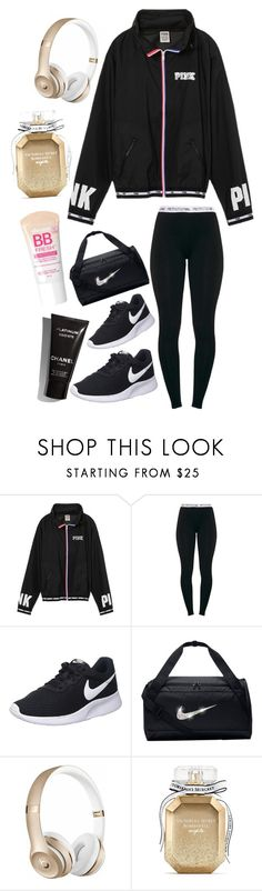"""""""Windbreaker"""" by heidihansen0505 on Polyvore featuring Victoria's Secret PINK, NIKE, Beats by Dr. Dre, Victoria's Secret and Maybelline"""